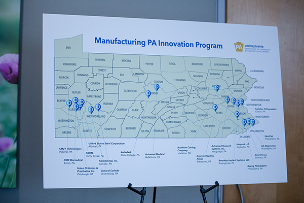 A map of Pennsylvania that has markers noting where each of the partner companies are located. There are a lot of markers in Pittsburgh and Philadelphia, with a few in the middle of the state.